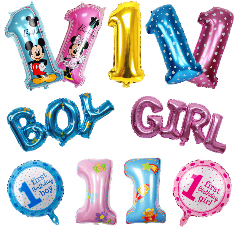 Baby 1 First Birthday Boy Girl Balloons Kids One Year Old Birthday Balloon Foil Number Balloons Children Party Decorations Gift