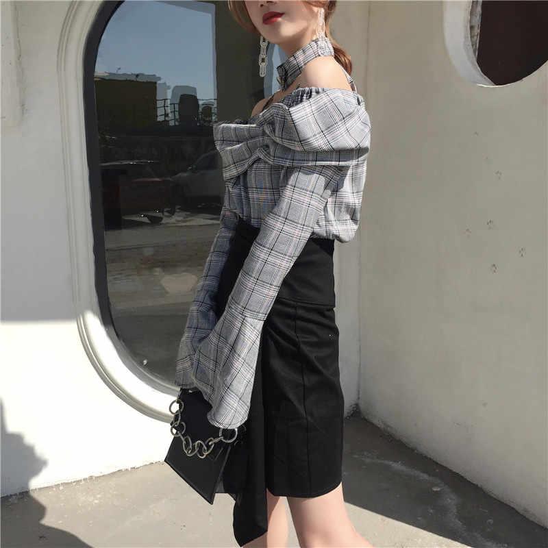 Woherb 2020 New Off Shoulder ฤดูร้อนเซ็กซี่ Mujer เสื้อแฟชั่น Slash คอลายสก๊อตเสื้อ Flare แขนหญิง Blusas 74400