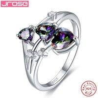 Jrose Fine Jewelry Tim Multicolor Cầu Vồng Trắng CZ 100% S925 Sterling Silver Ring Cho Phụ Nữ Nam Giới Bán Lẻ Bán Buôn Quà Tặng
