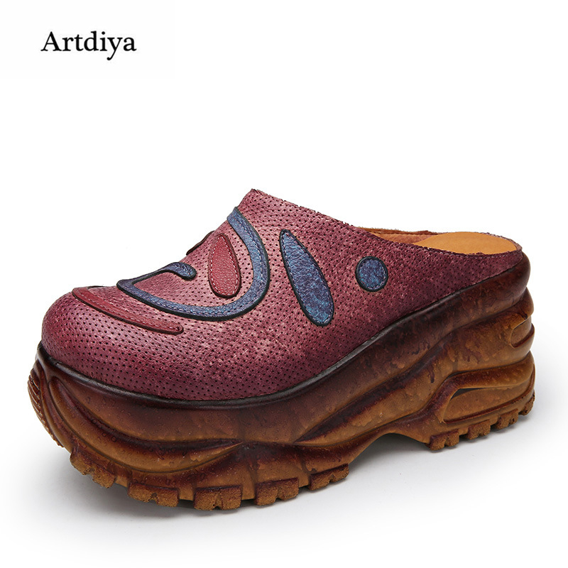 Artdiya Folk Style Genuine Leather Shoes 2018 New Spring and Summer Women Slippers Retro Muffin Heels Sandals F689-A3 2016 spring and summer free shipping red new fashion design shoes african women print rt 3