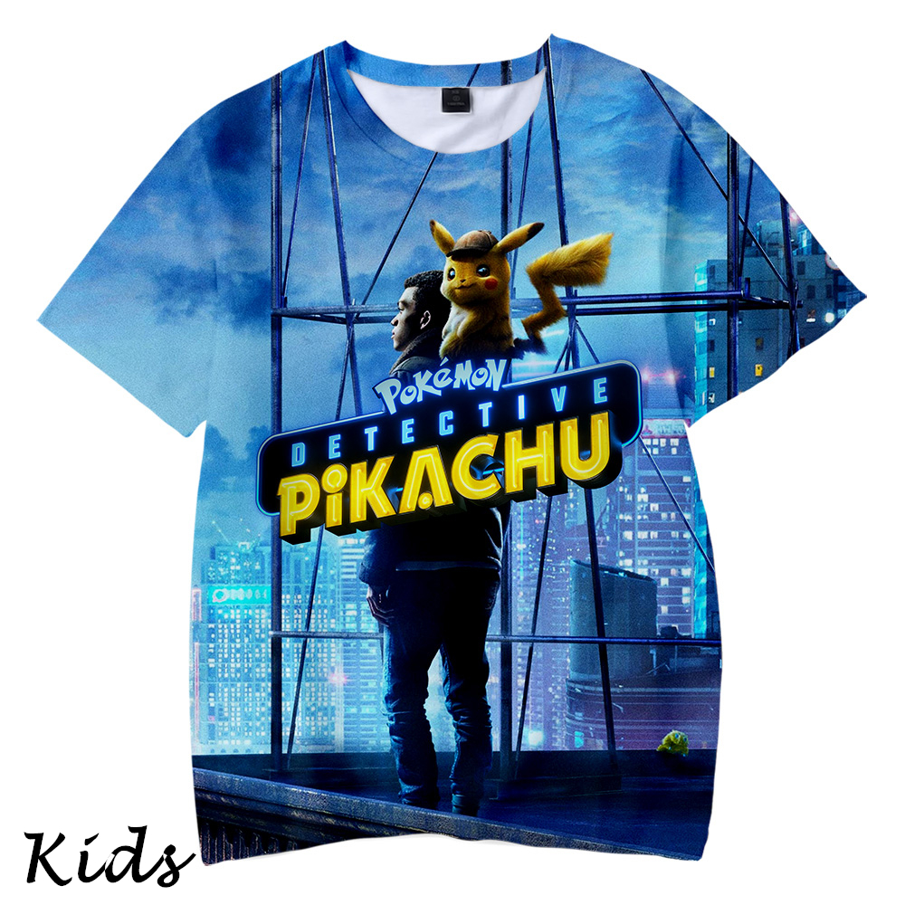 Pokemon <font><b>Detective</b></font> <font><b>Pikachu</b></font> 3D Kids Children T shirts Summer Streetwear Short Sleeve <font><b>Tshirts</b></font> harajuku Clothes Fashion Kids image