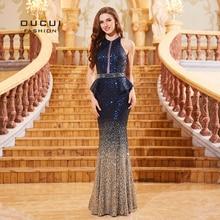 Azul marinho sem mangas sereia vestidos de baile de recorte robe de soiree lantejoulas de luxo vestidos de noite para feminino vestido formal ol103287