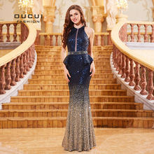 Navy Blue Sleeveless Mermaid Prom Dresses Cut out Robe De Soiree Sequined Luxury Evening Gowns For Women Formal Dress OL103287