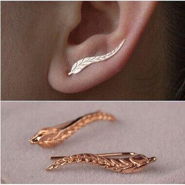 Leaf Earrings Modern Beautiful Feather Stud Earrings for Women