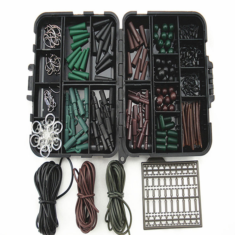 Hot Sale!1 Set Assorted <font><b>Carp</b></font> <font><b>Fishing</b></font> <font><b>Accessories</b></font> Consist Of Hook,Swivels, Beads, Sleeves,Rubber Tubes, Stoppers for Hair Rig etc