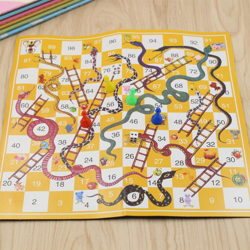 TOY128 Snake Ladder Education Children's Toys Fun Board Game Set Portable Flight Board Family Party Games Parent-child Toy Gifts