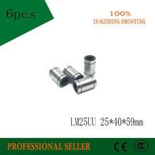 משלוח חינם 6 pcs LM25UU 25mm Bearing ליניארי Bearing בוש תותב 25x40x59mm עבור 3D מדפסת CNC חלקי