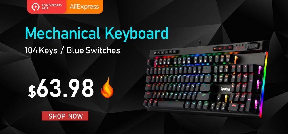 Redragon K580 Gaming Keyboard RGB LED Backlit Mechanical Keyboard 104 Keys  teclado mecanico KEYPAD FOR DOTA 2 overwatch gamer