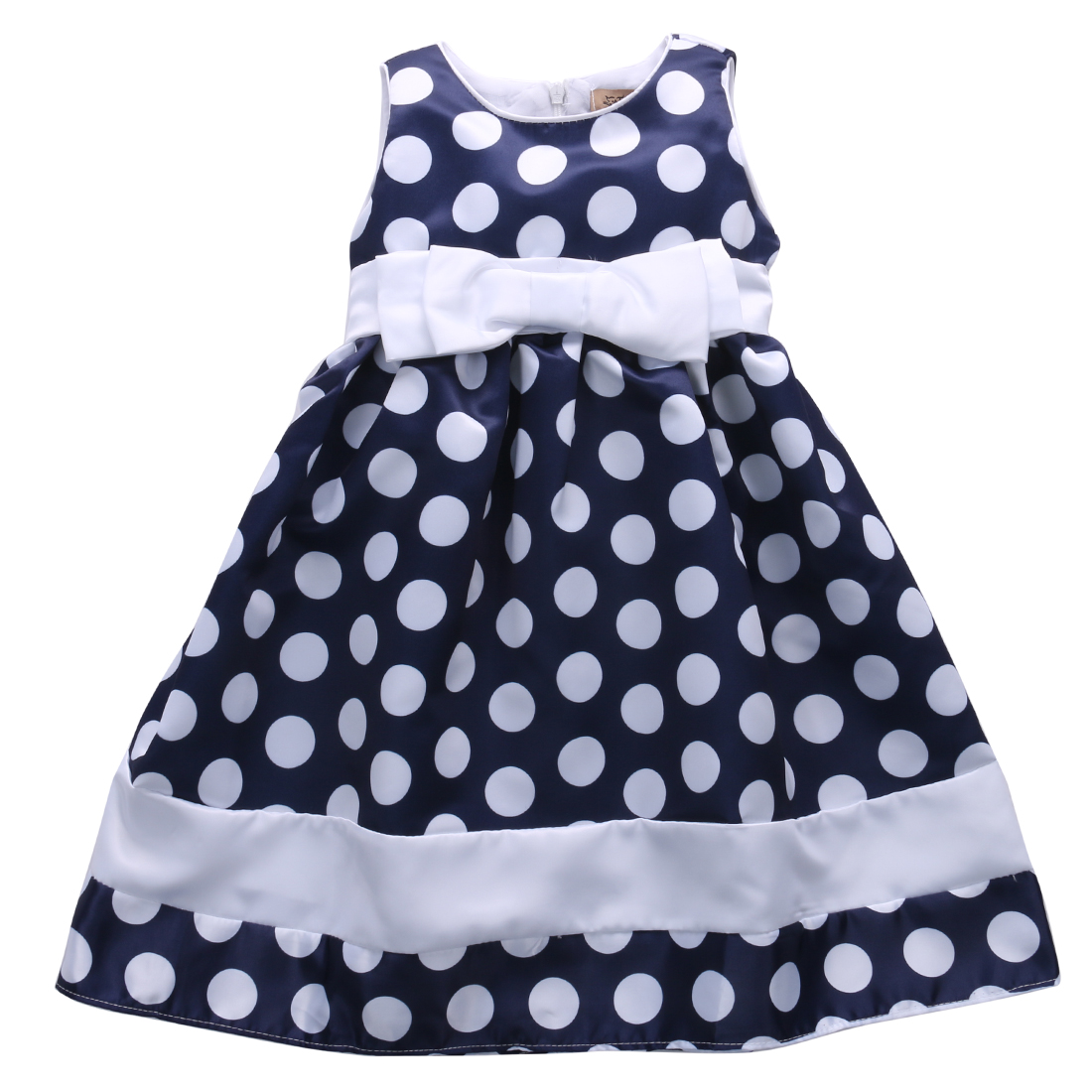 Helen115 Lovely Baby Kid Girls Princess Polka Dot Printed With Bow-knot Sleeveless Dresses 4-9Years