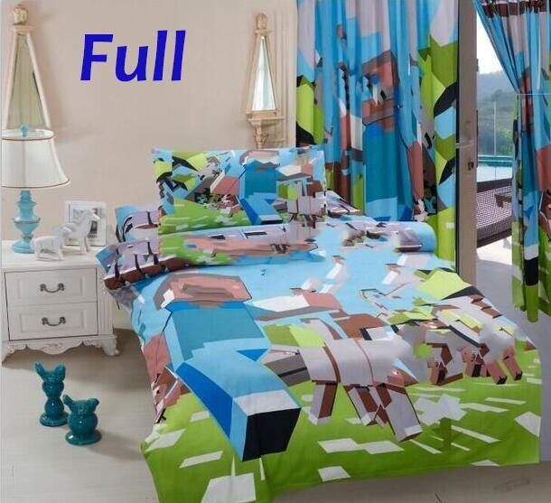 nieuwe minecraft beddengoed 1 dekbedovertrek 1 hoeslaken 1 kussensloop kinderen bed sets print mijn wereld cartoon baby jongens meisjes slaapkamer in