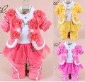 Новый девочка комплект одежды младенца высокого качества девушки цветка с длинным рукавом 3-х частей устанавливает детские Осень-Весна Повседневная Одежда наборы
