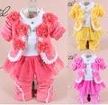 Novo bebê conjunto roupa da menina de alta qualidade meninas do bebê flor de manga longa 3-piece conjuntos Primavera Outono bebê conjuntos de Roupas Casuais