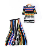 2018 Autumn Elegant Two Piece Set Women's O neck Short Sleeves Knitted Striped Blouse + Midi Skirts Runway Clothes Set