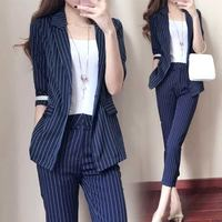 women's suit sets 2019 Work Pant Suits 2 Piece Sets Single button Striped Blazer Half Sleeve Jacket & Trousers Suit For Women