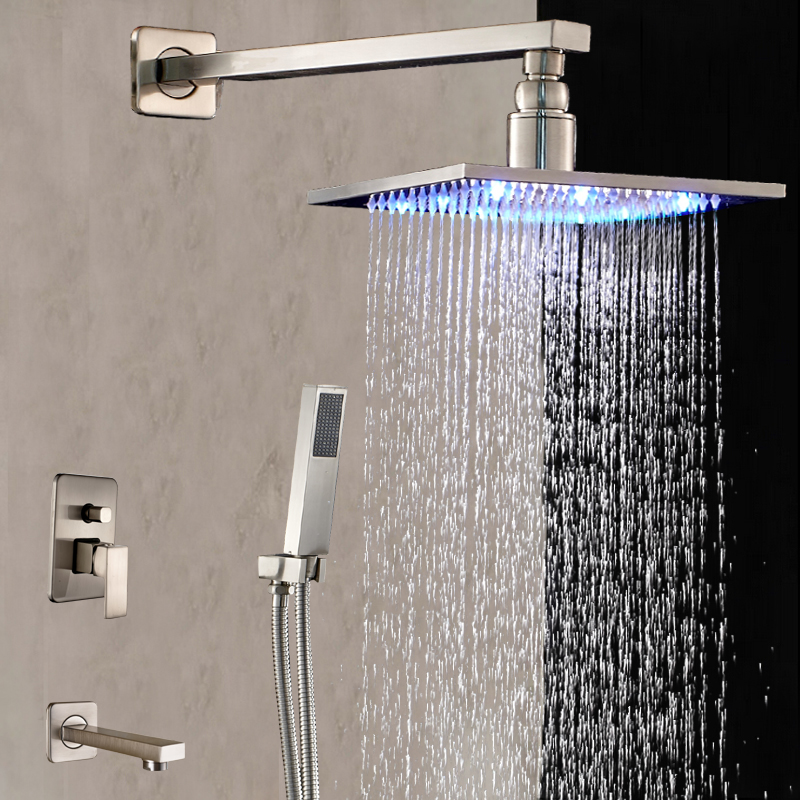 LED Nickel Brushed Wall Mounted Rain Shower Head Tub Spout Hand Sprayre NEW