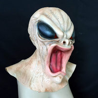 Quality Latex Full Ghost Mask Grimaces Demon Wigs Halloween Party Cos Props