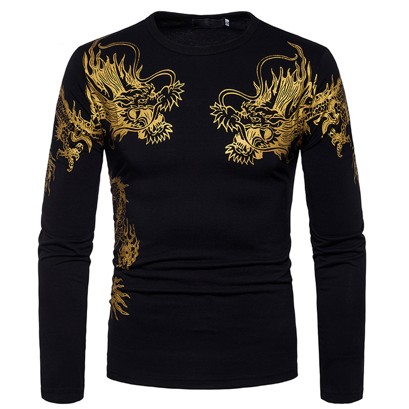 New Spring Brand Dragon Tattoo Printed O-Neck Slim Fit Long Sleeve T Shirt Men Trend Casual Solid Color Cotton Tops Tees XXL