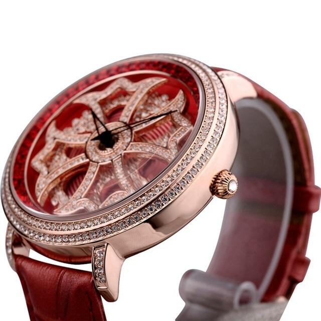 Luxury Rhinestone Crystal Rose leather watch
