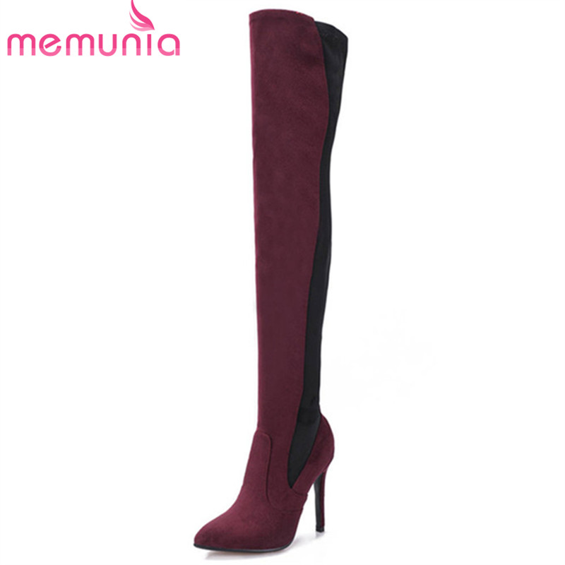 MEMUNIA 2018 new fashion Female Shoes pointed toe flock slip on thigh high boots sexy stiletto heels party shoes autumn boots newest flock blade heels shoes 2018 pointed toe slip on women platform pumps sexy metal heels wedding party dress shoes
