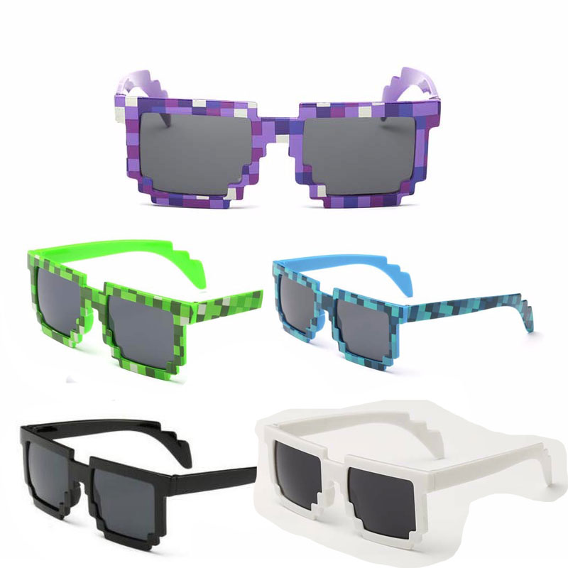 Dropship 5 Color! Fashion Sunglasses Kids Cos Play Action Game Toys Minecrafter Square Glasses With EVA Case Gifts For Boy Girl