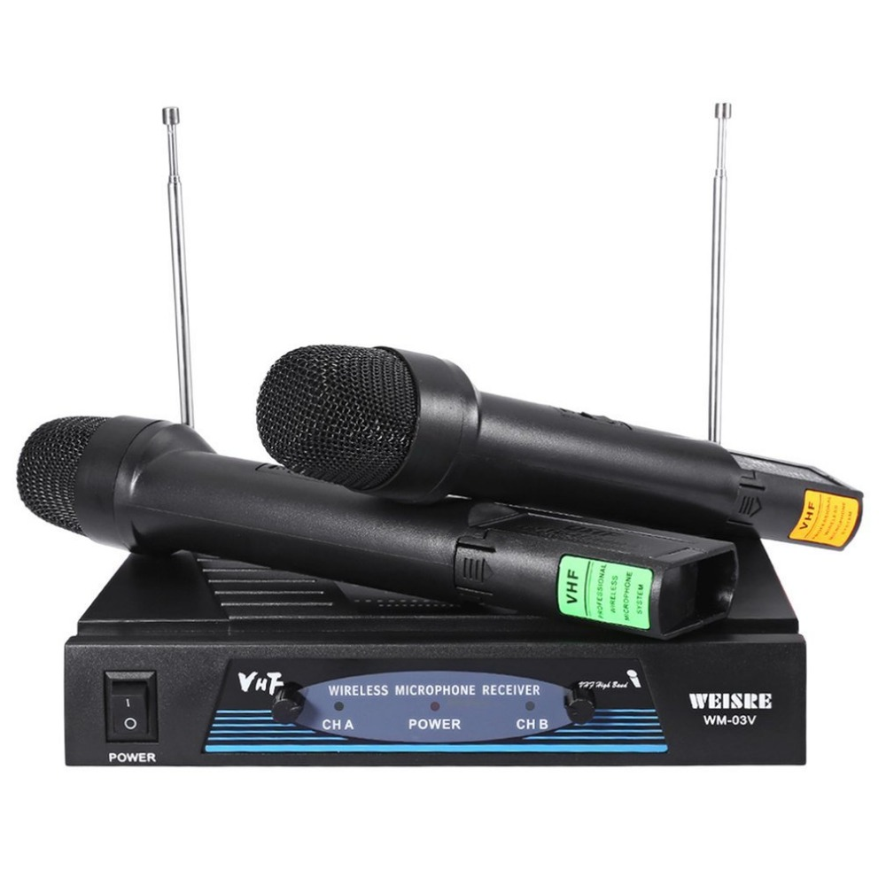Professional Karaoke Radio Wireless Handheld VHF Transmitter Microphone System Set With 2 Mic 1 Receiver For Party Bar Speech ur6s professional uhf karaoke wireless microphone system 2 channels cordless handheld mic mike for stage speech ktv 80m distance