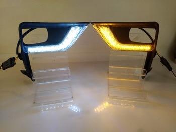 Osmrk led drl daytime running light for Toyota land cruiser prado 2018-2019 with yellow turn signals and blue night  light