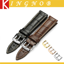 18mm 19mm 20mm 21mm 22mm Black Brown Genuine leather Watch Band Strap with 3 Colors pin buckle for Omega Seiko