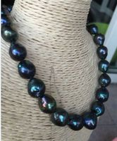 Free Shipping >>>>> stunning12 13mm tahitian baroque black green pearl necklace 1814k
