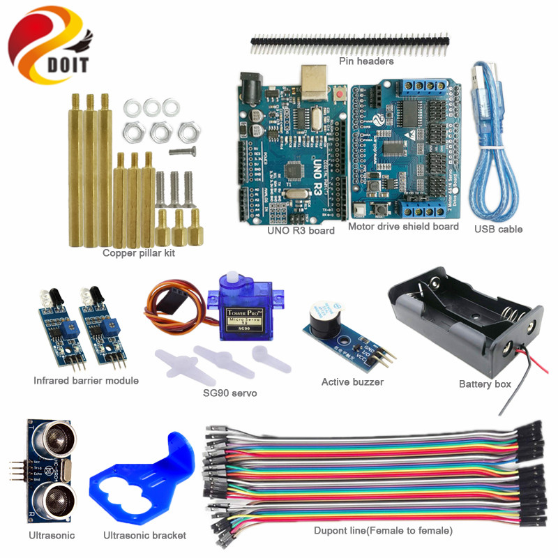 DOIT 1set Obstacle Avoidance for Robot Tank Car with Arduino UNO R3 Board+Motor Drive Board+IR Barrier Module+Ultrasonic Sensor 20pcs lot ir infrared obstacle avoidance sensor module for arduin smart car robot 3 wire reflective photoelectric new