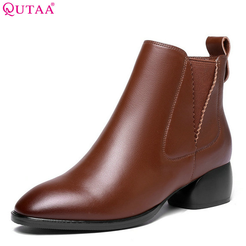 QUTAA 2019 Women Shoes Platform All Match Cow Leather+pu Women Anke Boots Winter Shoes Square Heel Ladies Boots Big Size 34-42 qutaa 2019 winter boots women ankle boots all match platform zipper square high heel cow leather pu women boots big size 34 39