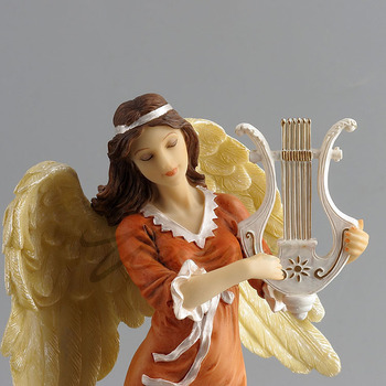 Willoni Creative Ornaments Angel Playing Plays Seven-String Harp Birthday Gifts Exquisite Home Jewelry Factory Direct Export