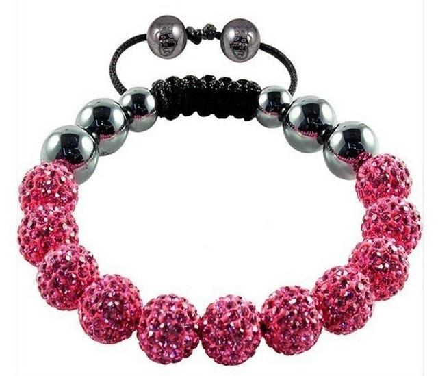 Free Shipping Authentic Handmade Macrame Tresor Paris Shamballa Bracelet Uk With Pink Crystal In Black String