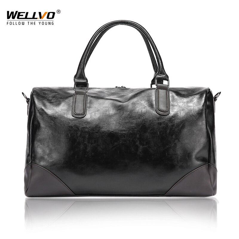 Fahion PU Leather Mens Travel Duffle Bag Round Bucket Shape Handle Bag Shoulder Messenger Bag sac de voyage Crossbody XA159WC