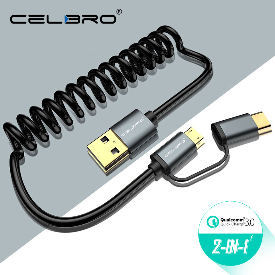 Adaptable 2 In 1 Retractable Short Micro Usb Type C Cable 2a Fast Charging Coiled Usbc Data Cord For Xiaomi Pocophone F1 A2 Mi8 Se 1m 0.5m Colours Are Striking