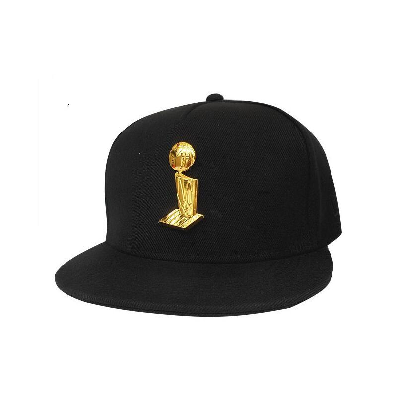 Larry O'Brien Basketball Championship Trophy Metal Gold Painted Emblem All Black Snapback Hat,100% Cotton Outdoor Sports Cap