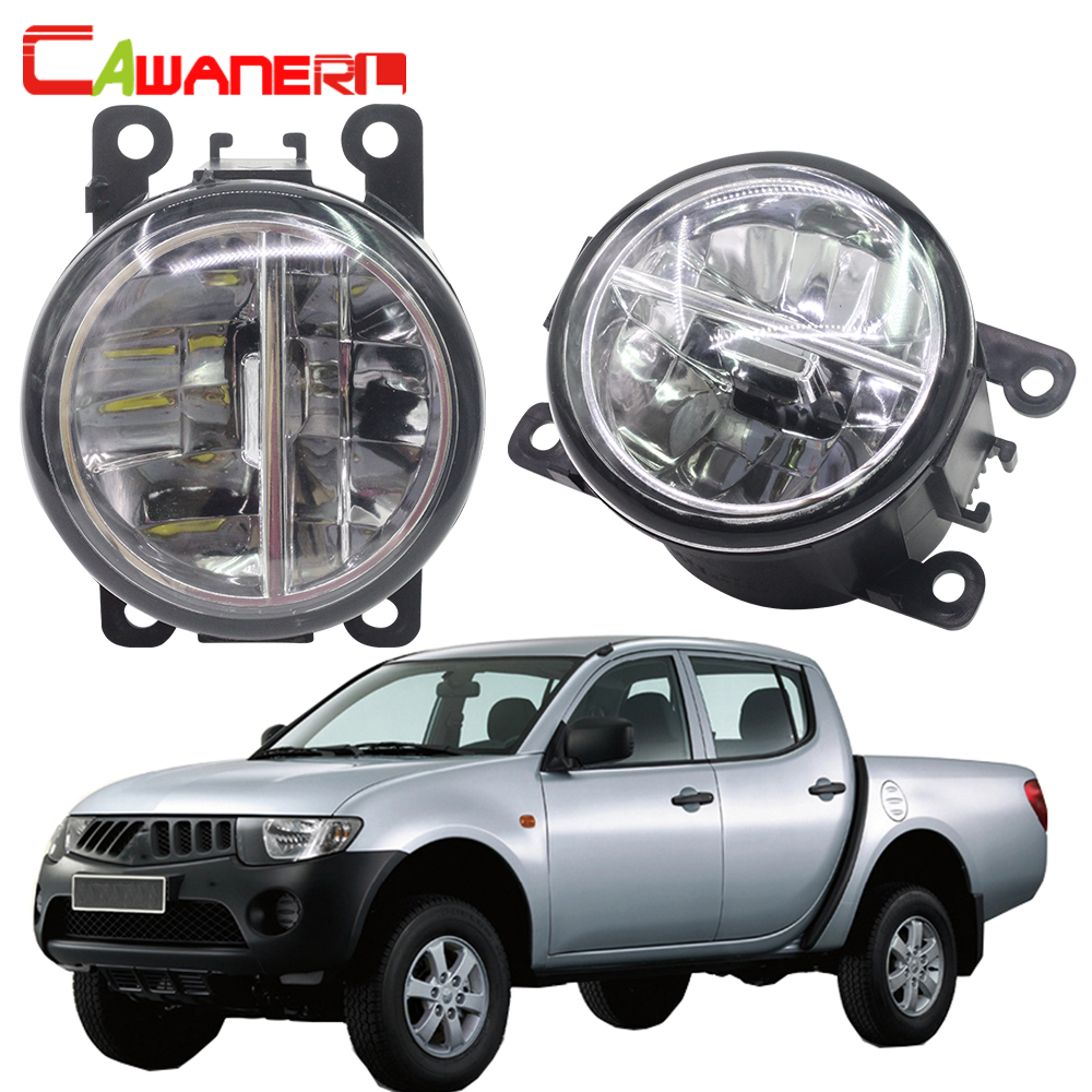 Cawanerl Car Styling 4000LM LED Fog Light 6000K White DRL Daytime Running Light For Mitsubishi L200