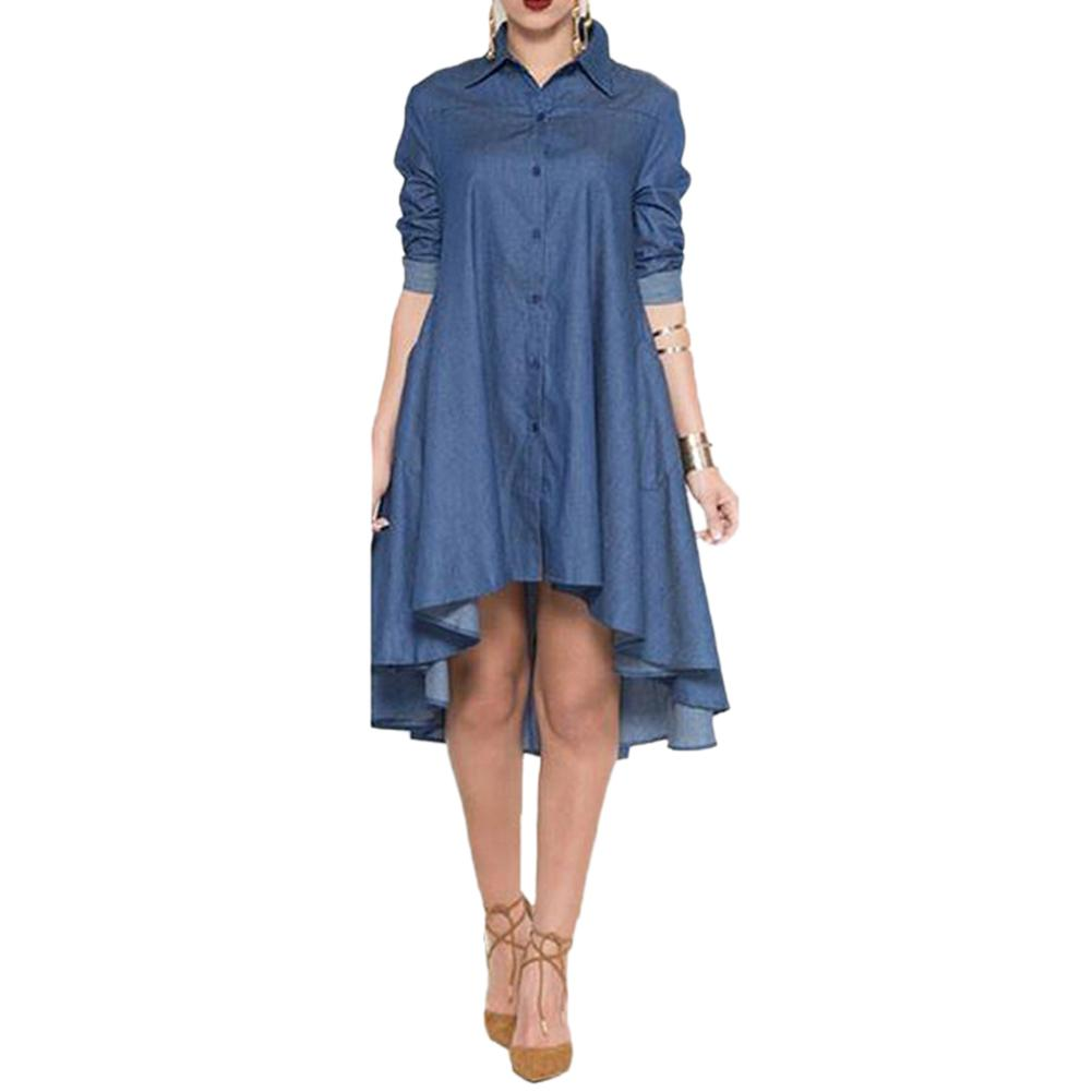 European And American Style Women Fashion Dress Turn-down Collar Pocket Denim Shirt Asymmetrical Dress Female