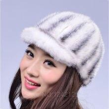 Новый осень зима родитель-ребенок женщины девочки натуральная кожа мех норки шляпа теплый роскошный прекрасный бейсбол реального отцовства меховая шапка шляпа