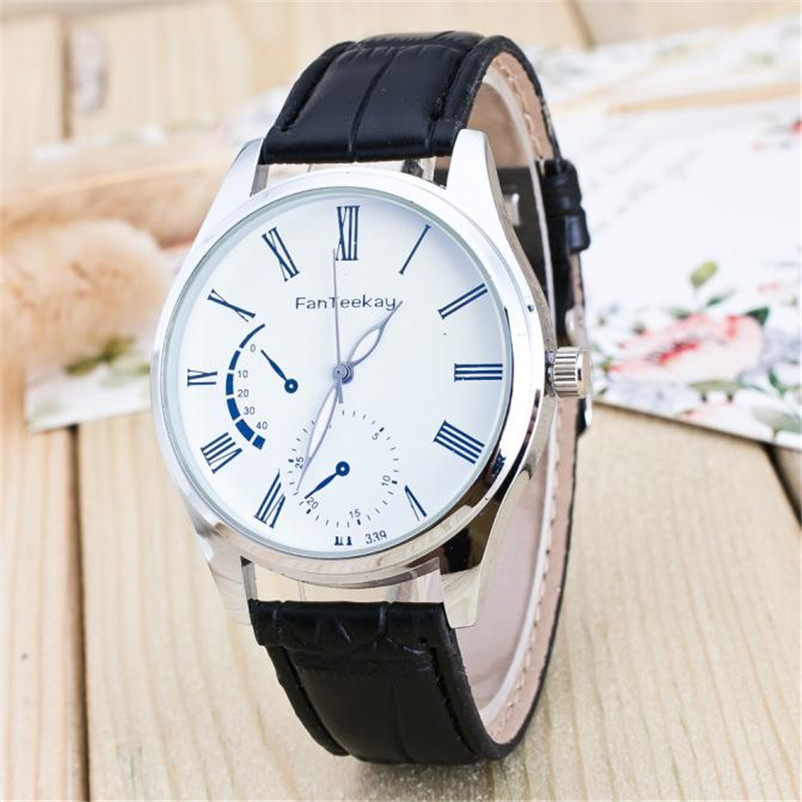 2018 Newly Luxury Quartz Sport Military Stainless Steel Dial Leather Band Wrist Watch Men Wristwatch montre femme gift