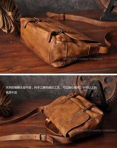 Image 4 - Vintage skórzana torba męska skórzana torba na ramię męska torba Crossbody męska Sling torba rekreacyjna torebka na ramię brązowy szary