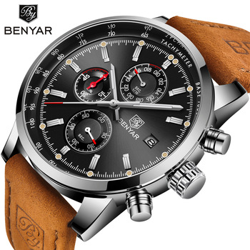c9f52820268f Reloj Masculino BENYAR 5102 relojes para hombre de marca de lujo de la  mejor deporte cronógrafo reloj de hombre militar cuero reloj de cuarzo reloj  de ...