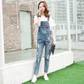 2016 New Style Bib Jeans Women Overalls Casual Blue Denim Overalls Pockets Ripped Jeans Girls Trousers Denim Jeans WYS09
