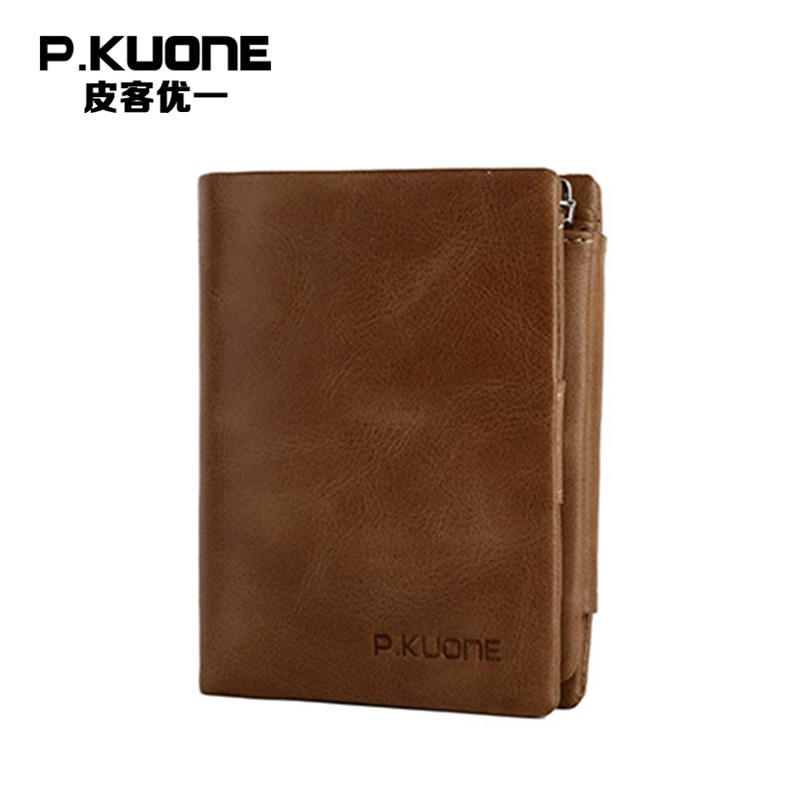 P.KUONE 2018 Hot Sell Genuine Leather Men Wallet New Design Big Capacity Zipper Coin Purse Snap Button Card Bag Photo Money Bag large capacity card id holders genuine leather package cluch bag new men s leather wallet fashion leisure leather wallet