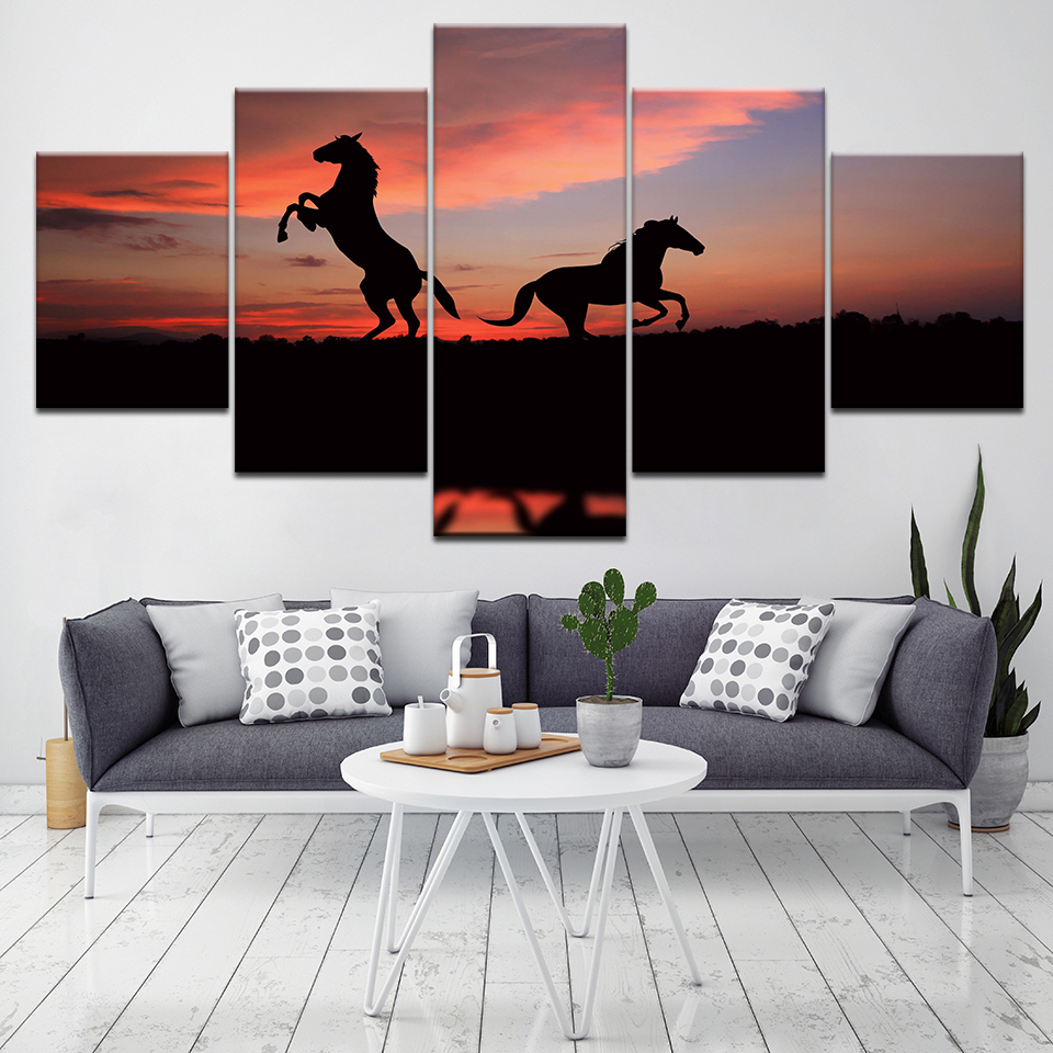 Home Decor HD Print Wall Art Pictures 5 Piece Red Sunset Horse Art Scenery Landscape Canvas Painting Home Decor For Living Room