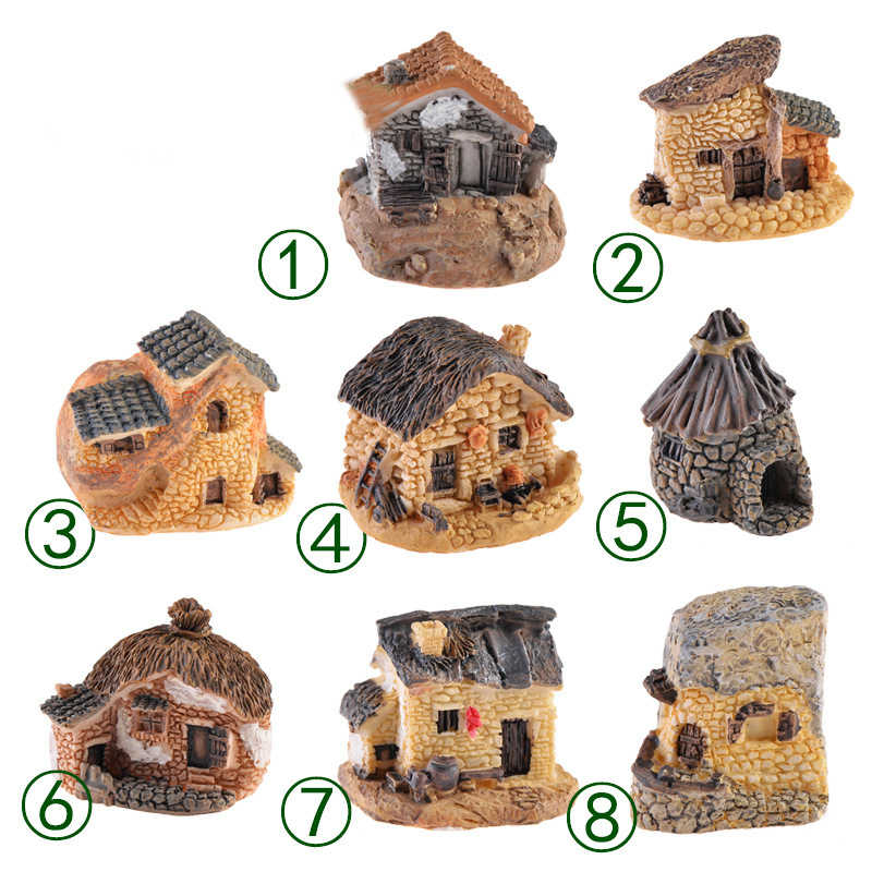 Stone House Fairy Garden Miniature Kawaii Mini Resin Small House Garden Micro Figurines Miniatures Garden Decor DIY Accessories