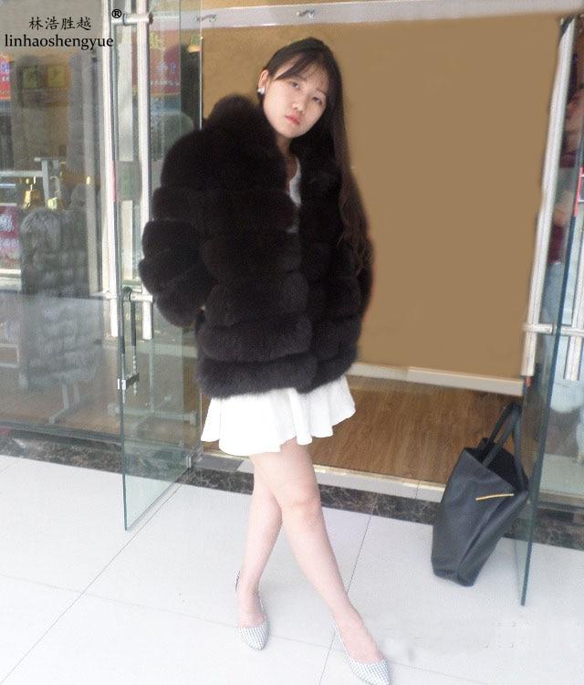 Linhaoshengyue Délka 60CM pravý skutečný přírodní liščí kožich s kapucí