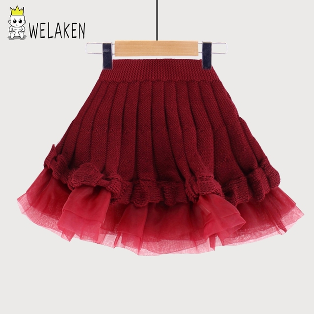 weLaken New 2017 Girls Skirt Autumn Winter Ruffles Children Bottoms Outfits Fashion Apparel Casual 4-12Yrs Kids Knit Skirts