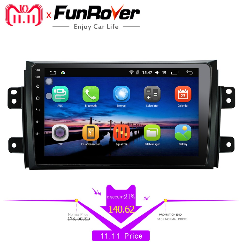 Funrover 9'' 2 din Android 8.0 Car dvd Player for Suzuki SX4 2006-2013 car radio gps Navigation multimedia Player Quad Core RDS funrover 9 hd quad core ram 2g android 8 0 car navigation gps player for suzuki sx4 2006 2013 wifi rds radio bt fm usb no dvd