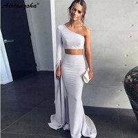 Simple Two Piece One Shoulder Long Sleeves Formal Dress Women Elegant Mermaid Long Dresses Evening Gown 2019