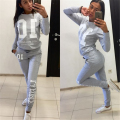 Ahagaga 2017 Winter women tracksuits set 2-pieces Digital letter print casual long-sleeved tracksuit female Sets Free Shipping